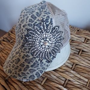 Leopard print jeweled hat